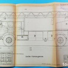 Coches y Motocicletas: RARISIMO PLANO 30 X 59 CM DE PEGASO COMET 1065 CABINA TRIPLE DE BOMBEROS METZ, AÑOS 60. Lote 166525530