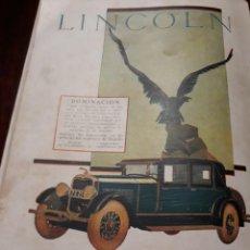Coches y Motocicletas: PUBLICIDAD DE COCHE LINCOLN AÑO 1927 -FORD MOTOR COMPANY .. Lote 167183328