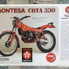 Coches y Motocicletas: FOLLETO PUBLICITARIO MOTO - MONTESA COTA 330 - ORIGINAL - AÑO 1984. Lote 167670732
