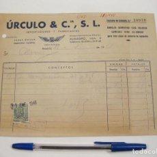 Coches y Motocicletas: FACTURA DE ÚRCULO & CIA. S. L. SEGMENTOS, CAMISAS, ETC. MADRID, 1948.. Lote 168286692