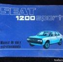 Coches y Motocicletas: SEAT 1200 SPORT - MANUAL DE USO Y ENTRENAMIENTO. Lote 168483177