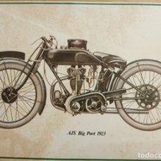 Coches y Motocicletas: LAMINA MOTO ANTIGUA - AJS BIG PORT 1923 - 37.5 X 22.5 CMS. Lote 169069000