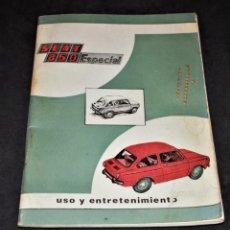 Coches y Motocicletas: MANUAL SEAT 850 ESPECIAL USO Y ENTRETENIMIENTO PRIMERA EDICION AÑO - 1971. Lote 169256856