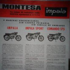 Coches y Motocicletas: CATALOGO TECNICO ORIGINAL MONTESA IMPALA SPORT Y COMANDO. Lote 169636424