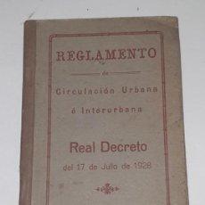 Coches y Motocicletas: REGLAMENTO DE CIRCULACION URBANA E INTERURBANA - 1928 (. Lote 169739344
