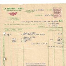 Coches y Motocicletas: FACTURA AUTOMÓVILES HISPANO SUIZA 1938. Lote 170042832