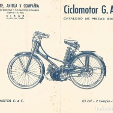 Coches y Motocicletas: CATALOGO DESPIECE DE CICLOMOTOR MOBYLETTE G. A. C. GAC 63 CM3 EIBAR GUIPUZCOA. Lote 182469268