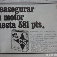 Coches y Motocicletas: PUBLICIDAD LUBRICANTES CS - AÑO 1978 - CAMPSA. Lote 170386124