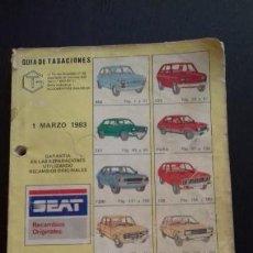 Coches y Motocicletas: GUÍA DE TASACIONES. 1983. SEAT MODELOS 850, 133, 127, FURA, 1200, 128, 124, 1430, 131, 132, RITMO, P. Lote 170488988