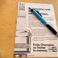 Coches y Motocicletas: ANTIGUO ANUNCIO PUBLICIDAD REVISTA COCHE BUJIAS CHAMPION ESPECIAL PARA ENMARCAR. Lote 170499460
