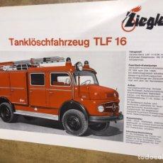 Coches y Motocicletas: CATALOGO CAMION BOMBEROS TLF 16 - ABIERTO TANQUE- ZIEGLER. Lote 170510732