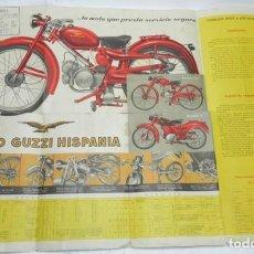 Coches y Motocicletas: ANTIGUO CARTEL DE PUBLICIDAD DE MOTO GUZZI HISPANIA, CONCESIONARIO FERRARI, CIUDAD REAL, REVERSO CON. Lote 171023594
