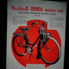 Coches y Motocicletas: LAMINA COMERCIAL ORIGINAL CICLOMOTOR VELOSOLEX ORBEA 1956. Lote 172078279