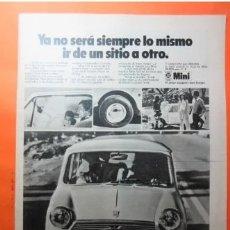 Coches y Motocicletas: PUBLICIDAD 1970 - COLECCION COCHES - MINI 850 BRITISH LEYLAND AUTHI. Lote 172094249