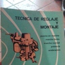 Coches y Motocicletas: .MANUAL CARBURADOR SOLEX.NUMERO 16 A.TECNICA DE MONTAJE Y REGLAJE.AUTOMOVIL.. Lote 172177300