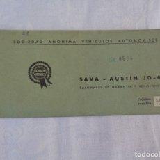 Coches y Motocicletas: TALONARIO DE GARANTIA Y REVISIONES SAVA - AUSTIN JO - 4 --- 1968. Lote 172405623