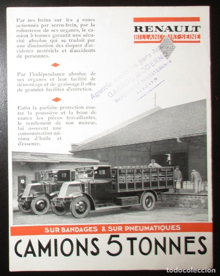 CATÁLOGO ORIGINAL DE LOS AÑOS 20 DE CAMIONES RENAULT DE CINCO TONELADAS. (Coches y Motocicletas Antiguas y Clásicas - Catálogos, Publicidad y Libros de mecánica)