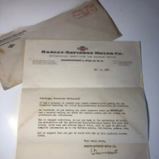 Coches y Motocicletas: CARTA CORRESPONDENCIA HARLEY DAVIDSON MOTOR CO AÑO 1946. Lote 173820143