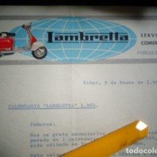 Coches y Motocicletas: CARTA COMERCIAL ORIGINAL LAMBRETTA EIBAR 1964 ENVIO DE CALENDARIO . Lote 173835965