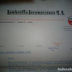Coches y Motocicletas: CARTA COMERCIAL ORIGINAL LAMBRETTA LOCOMOCIONES 1963 VUELTA CICLISTA A ESPAÑA. Lote 173958269