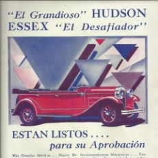 Coches y Motocicletas: ANTIGUA PÁGINA PUBLICITARIA DE EL GRANDIOSO HUDSON ESSEX, EL DESAFIADOR. HUDSON MOTOR CAR, AÑOS 20. Lote 174011082