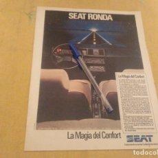 Coches y Motocicletas: ANTIGUO ANUNCIO PUBLICIDAD REVISTA COCHE SEAT RONDA ESPECIAL PARA ENMARCAR. Lote 174390792