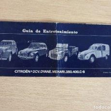 Coches y Motocicletas: GUIA DE ENTRETENIMIENTO CITROËN - AÑOS 60. Lote 175598272