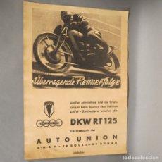 Coches y Motocicletas: ANTIGUO CARTEL DE DKW - AUTO UNION RT 125. MEDIDAS. 44 X 31 CM. (BRD). Lote 177587030
