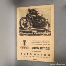 Coches y Motocicletas: ANTIGUO CARTEL DE DKW RT 125. MEDIDAS. 44 X 31 CM. (BRD). Lote 177592725