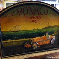 Coches y Motocicletas: ANTIGUO CARTEL VINTAGE EN 3D, MONACO GRAND PRIX 1923, COUNTRY CORNER, 70X53 CMS. Lote 177821228