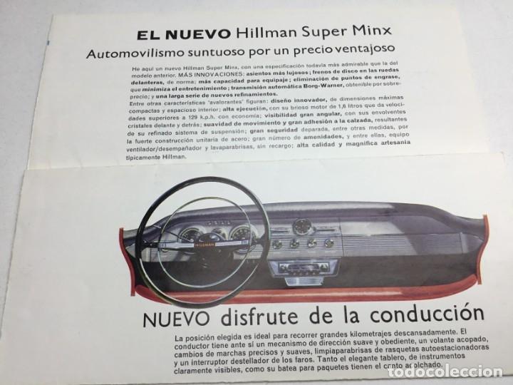 Coches y Motocicletas: ANTIGUO CATÁLOGO ORIGINAL EL NUEVO HILLMAN SUPER MINX - ROOTES SERVICE - IMPRESO POR LETTERPRESS - Foto 5 - 177870462