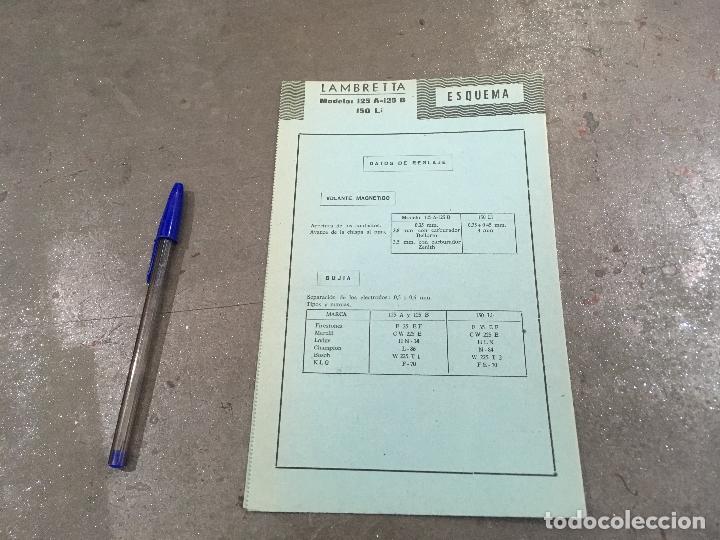 FICHA DE LAS CARACTERÍSTICAS TÉCNICAS DE LA LAMBRETTA 125 A - B Y 150 LI (Coches y Motocicletas Antiguas y Clásicas - Catálogos, Publicidad y Libros de mecánica)