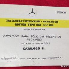 Coches y Motocicletas: MERCEDES BENZ - MOTOR TIPO OM 636 VII - CATALOGO B PARA SOLICITAR PIEZAS - EDICION 1970 ABRIL. Lote 179078000