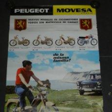 Coches y Motocicletas: (M) CARTEL MOTOCICLISMO PEUGEOT MOVESA VITORIA, NUEVOS MODELOS DE CICLOMOTORES SIN CARNET. Lote 179180718