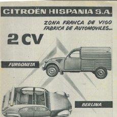Coches y Motocicletas: ANUNCIO * CITROËN 2 CV * AÑO 1961. Lote 179210601