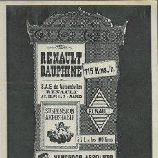 Coches y Motocicletas: ANUNCIO * RENAULT DAUPHINE * AÑO 1961. Lote 179210607