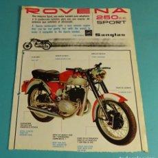 Coches y Motocicletas: HOJA PUBLICITARIA MOTOCICLETA ROVENA 250 CC SPORT. TALLERES SANGLAS. Lote 180143606
