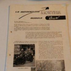 Coches y Motocicletas: MONTESA BRIO 91 CATÁLOGO Y ESPECIFICACIONES DEL AÑO 1956 ORIGINAL MUY DIFICIL PREVIO A BULTACO MOTO. Lote 180333233