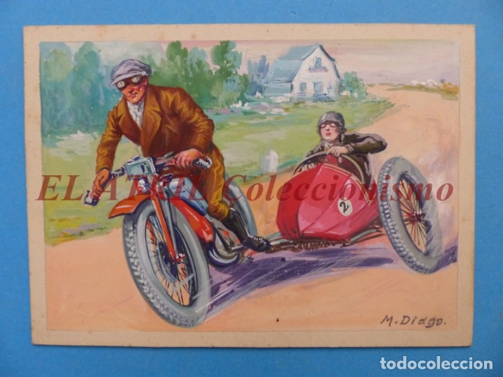 ORIGINAL PINTADO A MANO POR M. DIAGO - SIDECAR - AÑOS 1930-40 - MUY RARO (Coches y Motocicletas Antiguas y Clásicas - Catálogos, Publicidad y Libros de mecánica)