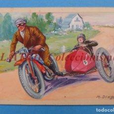 Coches y Motocicletas: ORIGINAL PINTADO A MANO POR M. DIAGO - SIDECAR - AÑOS 1930-40 - MUY RARO. Lote 180394577