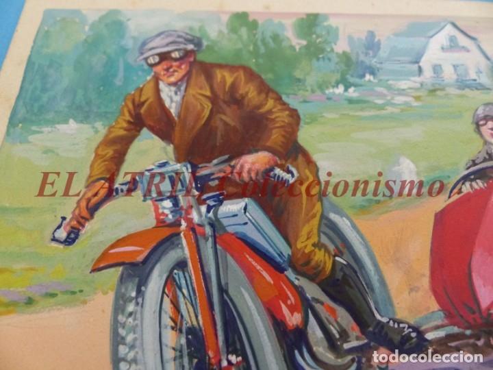 Coches y Motocicletas: ORIGINAL PINTADO A MANO POR M. DIAGO - SIDECAR - AÑOS 1930-40 - MUY RARO - Foto 3 - 180394577