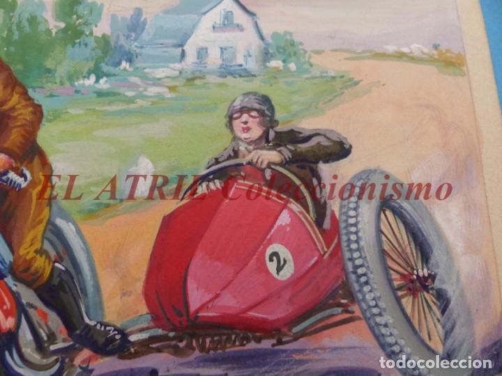 Coches y Motocicletas: ORIGINAL PINTADO A MANO POR M. DIAGO - SIDECAR - AÑOS 1930-40 - MUY RARO - Foto 4 - 180394577