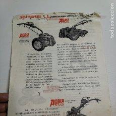 Coches y Motocicletas: FOLLETO PUBLICITARIO ORIGINAL PUBLICIDAD MOTOCULTORES AGRIA HISPANIA.---J.ALTET EL VENDRELL--REF-ZZ. Lote 181419215