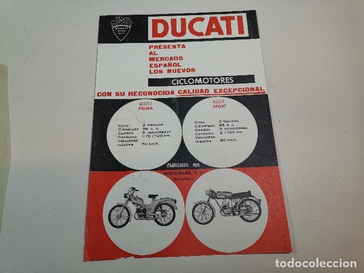 FOLLETO PUBLICITARIO ORIGINAL PUBLICIDAD CICLOMOTORES DUCATI SPORT Y PIUMA-BARCELONA -REF-ZZ (Coches y Motocicletas Antiguas y Clásicas - Catálogos, Publicidad y Libros de mecánica)