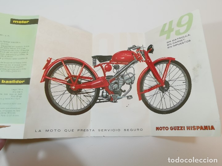 Coches y Motocicletas: folleto publicitario DESPLEGABLE PUBLICIDAD MOTO GUZZI HISPANIA 49 CONCESIONARIO REUS -REF-ZZ - Foto 7 - 181421852
