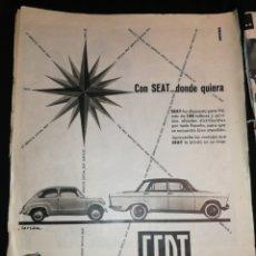 Coches y Motocicletas: PUBLICIDAD ANTIGUA SEAT 600 Y SEAT 1400, 1957. Lote 181627418