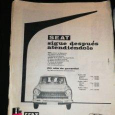 Coches y Motocicletas: PUBLICIDAD ANTIGUA SEAT 600 Y SEAT 1400.. Lote 181628428