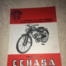 Coches y Motocicletas: VELOMOTOR ECHASA - AÑOS 50 - ECHAVE, ARIZMENDI Y CÍA, S.A. - EIBAR ( GUIPUZCOA ) - FOLLETO. Lote 182406290