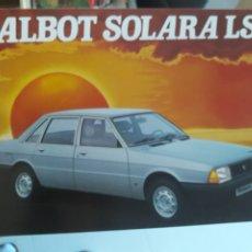 Coches y Motocicletas: TALBOT SOLARA 4 PAGINAS. Lote 183030116