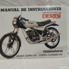 Coches y Motocicletas: MANUAL DE INSTRUCCIONES DERBI SPORT COPPA V. Lote 183176733